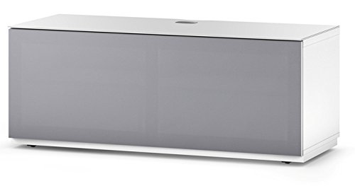 Accord Sonorous ST160T Glass and Wood Ready Assembled Cabinet with Speaker Fabric for TV Upto 70-Inch - White Olive