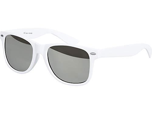 Balinco Hochwertige Nerd Sonnenbrille Rubber im Wayfarer Stil Retro Vintage Unisex Brille mit Federscharnier - 96 verschiedene Farben/Modelle wählbar (Weiß - Silber verspiegelt)