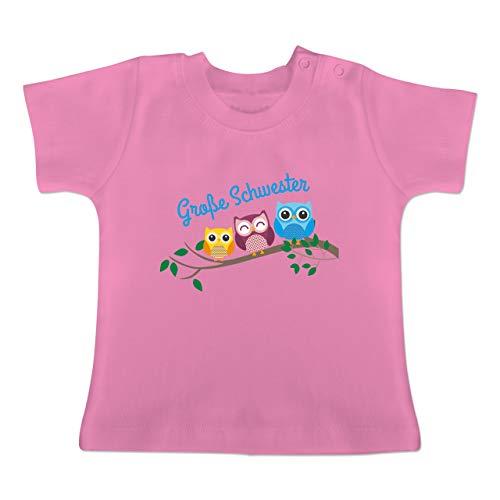 Geschwisterliebe Baby - große Schwester Eulen - 18/24 Monate - Pink - BZ02 - Baby T-Shirt Kurzarm
