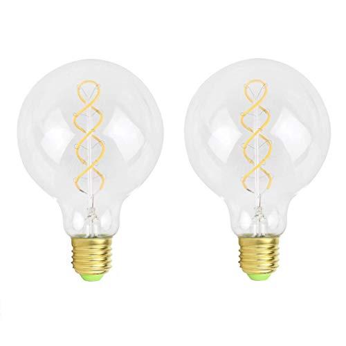 Vintage Edison 4W LED Filament Dimmbar Glühfaden Globe Schraube E27 G95 Glühbirne Dekorative Bulb Home-Deco Birne Antike Leuchtmittel für Nostalgie und Retro Beleuchtung Warmweiß Licht - 2 Stück, A (Antike Leuchtmittel Globe)
