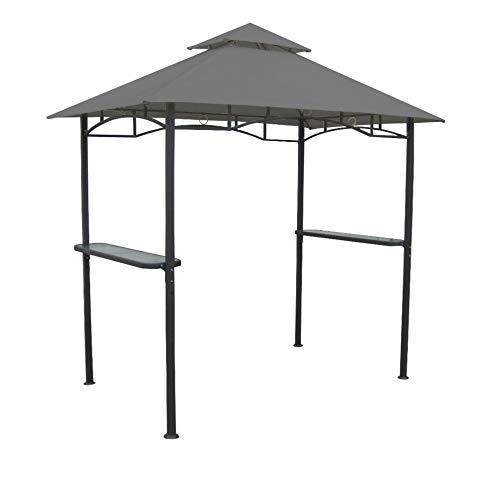 Hagardo Grill-Pavillon aus Metall mit Seitenablagen und Doppeldach grau benedomi -