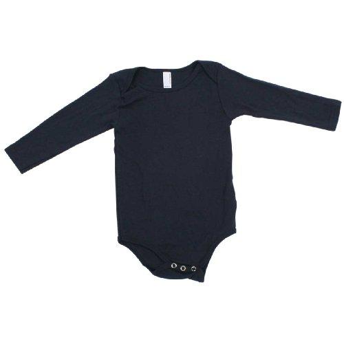 American Apparel Infant Baby Rib Long Sleeve One-Piece -white (Rib White Baby Tee)