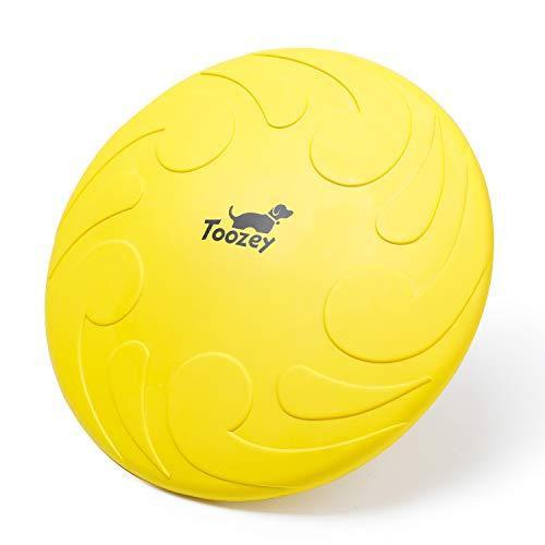 Toozey Hunde Frisbee, Ø 22cm Naturgummi Hunde Disc, BPA Frei Schwimmend Wasserspielzeug Schwimmspielzeug, Scheibe für Große & Kleine Hunde, Gratis E-Book