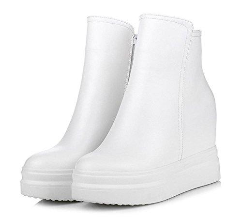 Scarpe casual aumento delle donne dal fondo pesante stivali piatti all'interno delle scarpe sportive con scarpe ascensore cerniera Ms. Autunno White