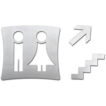 wc schild toilettenschild damen und herren mit pfeil und treppe aus geb rstetem. Black Bedroom Furniture Sets. Home Design Ideas
