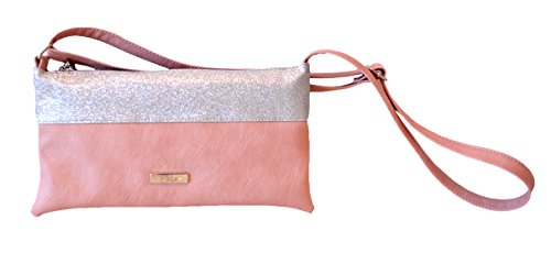 Borsa Donna, Pikla Long Envelope Bag (Busta lunga Bag) in morbido e fascia in Lurex. Tracolla regolabile. Fodera interna. Chiusura con cerniera. Made in Italy. Rosa
