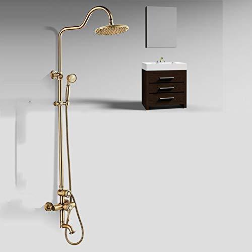 Duschsystem, Badezimmer-Duschmischer-Set Europäisches Kupfer geschnitzte antike Duschset...