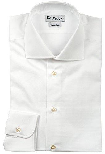 Preisvergleich Produktbild Ernani Oxford-Herrenhemd, Regular-Fit, Haifischkragen, hergestellt in Italien, Weiß
