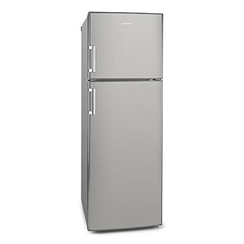 Klarstein Height Cool C • Kühl- und Gefrierkombination • 234 Liter Kühlschrank • 77 Liter Gefrierfach • 4 große Ablagen • Sicherheitsglas • Gemüsefach • 3 Türablagen • 7-stufige Temperatureinstellung • freistehend • Edelstahl Optik • silber