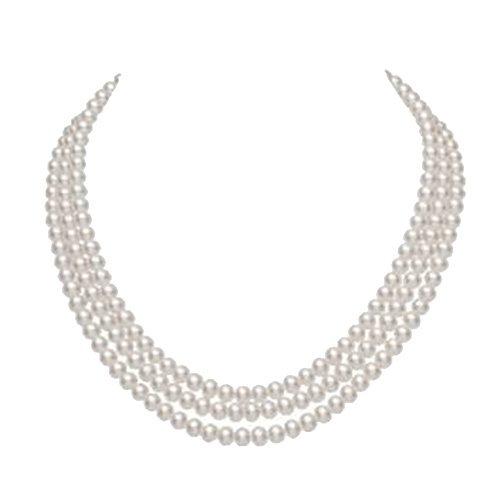 jyx 3-reihig 6-7 mm Runde Süßwasser-Zuchtperle Halskette -