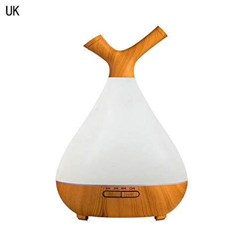 QueenHome Automatischer Lufterfrischer Ideal With400ML Holzkorn-Aroma-Luftbefeuchter-Haushaltsdämpfungs-Kleiner ätherisches Öl-Diffusor mit LED-Farbe beleuchtet das Parfüm-Aerosol-Dispenser, das - Parfüm Königreich