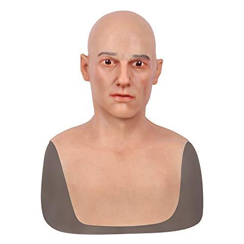 (Realistische Mann Maske Silikon Volle Kopf Maskerade für Crossdresser Cosplayer Halloween Kostüm Party Latex Kopf Masken Gesicht)