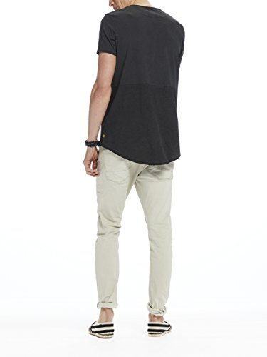 Scotch & Soda Herren T-Shirts Tee in Lightweight Jersey Quality with Cut & Sewn Styling A Schwarz (Black Melange 0686)
