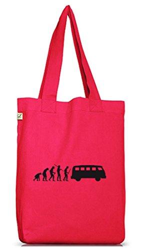 Shirtstreet24, EVOLUTION KULT BUS, Jutebeutel Stoff Tasche Earth Positive Hot Pink