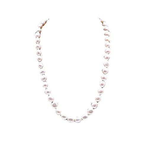 JYX 9-10mm Barock Perlenkette Natürliche Weiße Barocke Suesswasser Perlenkette Einzelstrang 18 zoll -Barock perlen