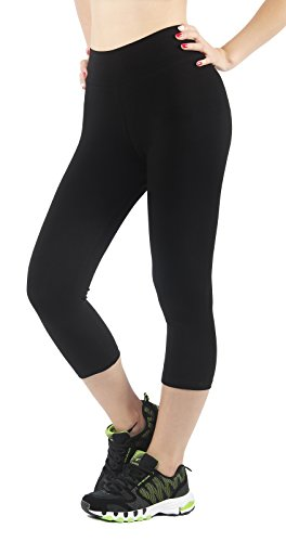 4How Leggings sport damen schwarz sportswear frauen hosen 3/4 Strupmfhose shorts Pants, M (Damen Shorts Spandex Neue Baumwolle)