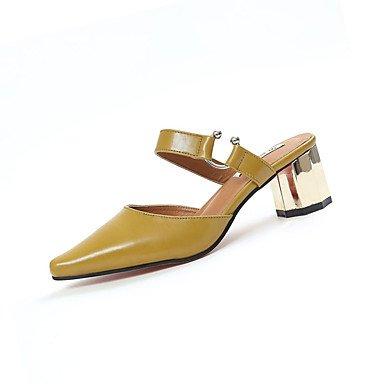 Sommer Schuhe Damen Sandalen Outddor-PU-Blockabsatz-Komfort-Weiß Schwarz Gelb Black