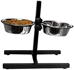 Pets Empire 2 Dog Bowls, with Stand Food Water Biscuits and Real Mutton and Carrot, Calcium, Vitamin D (350g, 900ml)