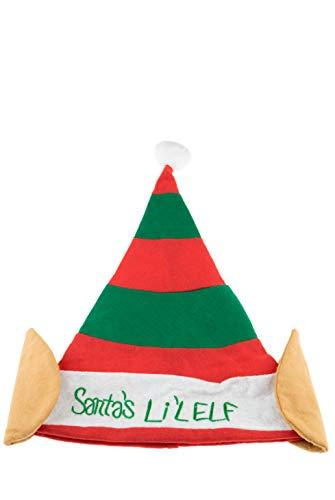 Clever Creations Weihnachtself Hat   Einheitsgröße   rot und grün gestreift Santa 's Li 'l Elf Hat mit Weiß Pom Pom und Elfen Ohren   Maßnahmen 29,2x 43,2cm Santas Lil Elf