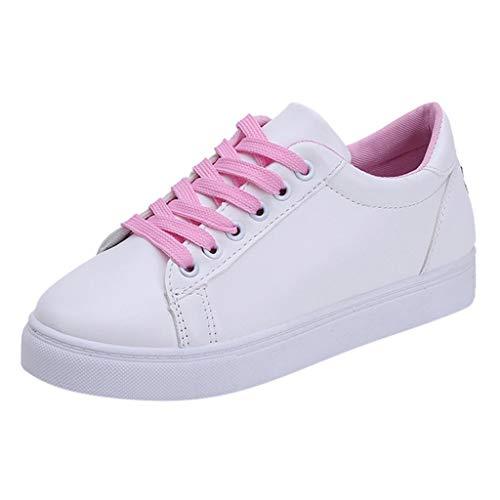 iHENGH Shoes Women Fashion Rete Sneakers Scarpe Sport Pelle Pantofola Stampa Running per Donna Scarpa Ginnastica Pigre Ragazza Scarpe Moda Casual Fitness Nero Estate Bianco