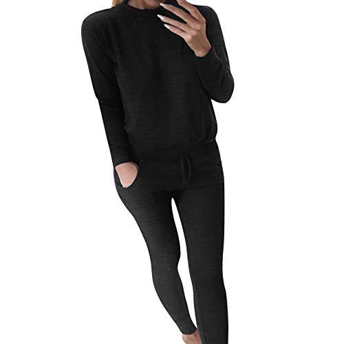 FIRSS Frauen Rundhals Trainingsanzug Geschnallt Kordelzug Einfarbig Jogginganzug Sweatshirt+Sporthose Outfit Bekleidungssets