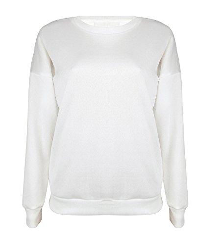 Femme Automne Blouse Manches Longues Casual Bandage T-shirt Hauts pullover Sweat-shirt à Col en Rond Sportswear Top Blanc