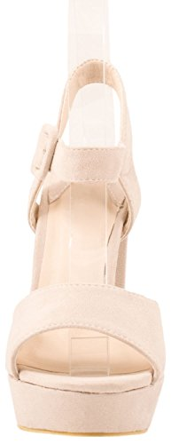 Elara Damen Pumps   Moderne Cut Out Stilettos   Wildlederoptik High Heels Beige Paris