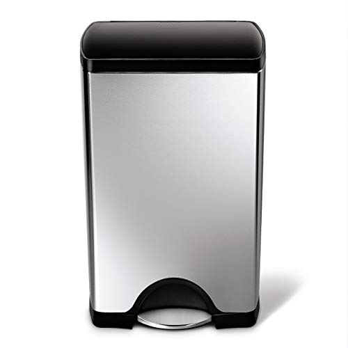 simplehuman 38 Liter, rechteckiger Treteimer, fingerabdrucksicherer Edelstahl |Kunststoffdeckel, 31.8 x 40.1 x 65.8 cm