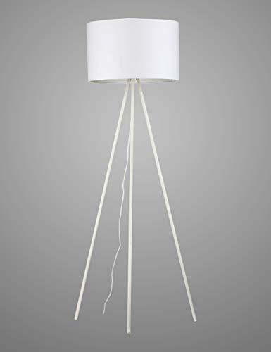Modernluci Stehlampe Stativ Weiß Modern Stehleuchte für das Wohnzimmer, Schlafzimmer Lampe, Zeitnah Tripod Stehlampen Skandinavischer Stil mit Textilschirm,ø 45cm Höhe:150cm MEHRWEG -