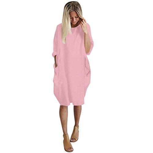 Damen Kleider,Kanpola Frauen Elegant Lose beiläufige Blusen Tuniken Plus Größe Shirt 3/4 Ärmel Knielänge Kleid Blusenkleid