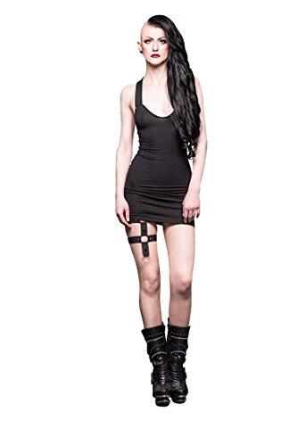 Queen of Darkness - Rückenfreies Neckholder Minikleid, mit kleinen Nieten verziert (Rock Verziert Leinen)