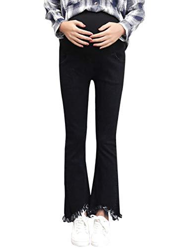 Zhhlaixing Umstandsmode Jeans Damen Slim Wide Leg Sporthose Gemütlich Atmungsaktiv - High Waist Schwangerschaftshose Denims, Schwarz/Dunkelblau Slim Leg Maternity Legging