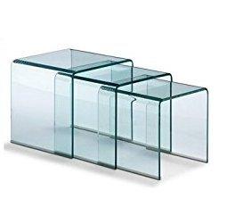 Outsunny - Set Tavolino da caffè, tavolino in plexiglass acrilico, tavolo da pranzo, 3 pezzi