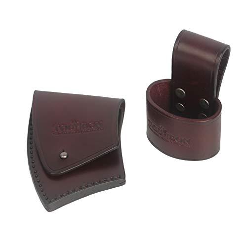 Tourbon - Funda de piel gruesa hecha a mano con soporte para cinturón de hacha para acampar al aire...
