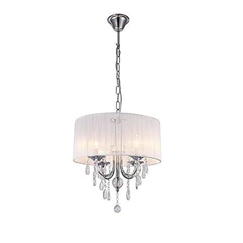Lumière pendante en cristal moderne / contemporain en tambour avec lampe brossée et ampoule à bougies, Max 60W (Chrome)