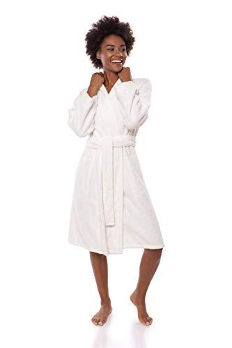 Texere Damen-Bademantel aus Bio-Baumwolle, schmale Passform, Megeve - Weiß - Small/Medium -