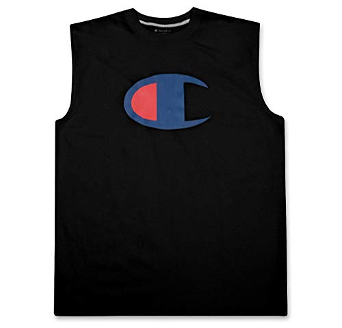 Champion Muskel-shirt (Champion Mens Big and Tall Sleeveless Jersey Tank Muscle Tee Shirt with Logo Black 1X Big)