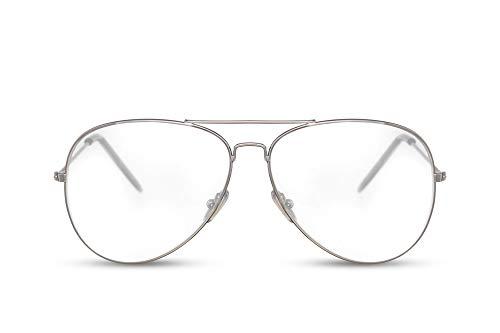 Cheapass Piloten-Brille Silber-n Transparent-e Linsen Flieger-Brille Pilot Metall Damen Herren