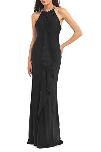 WIWIQS Frauen Elegant Ärmelloses Rüschen Evening Party Cocktail Brautjungfern Langes Kleid Medium (Master Kostüm Quiz)