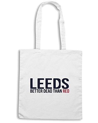 T-Shirtshock - Borsa Shopping WC0440 LEEDS BETTER DEAD THAN RED Bianco