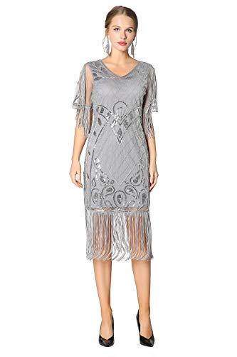 Metme Damen 1920er Charleston Kleid Pailetten Cocktail Flapper Kleid Mit Ärmel
