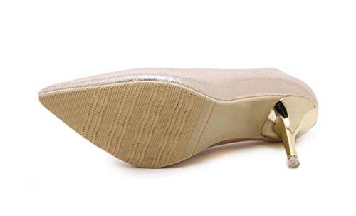LDMB Frauen-einfacher spitzer Zehe-flacher Mund mit dem einzelnen Schuh-feinen mit Absatz-Arbeits-Schuhen Gold