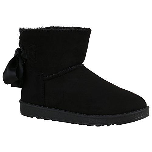 Bootsparadise Donna Stivaletti Antiscivolo Stivali Caldi Foderati Stivali Scarpe Fiocco Flandell Nero
