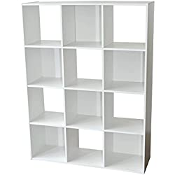Alsapan Compo Meuble de Rangement 12 Casiers Bibliothèque Etagères Cubes Blanc 92 x 30 x 123 cm