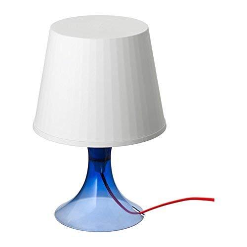 IKEA LAMPAN–Illuminazione d' atmosfera bianco con base blu scuro trasparente e cavo rosso–Edizione Limitata