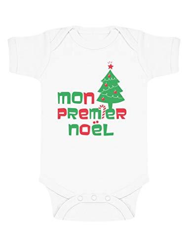 Mon Premier Noël Body Unisexe Cadeau bébé Body Bébé Manche Courte 3-6 Mois Blanc