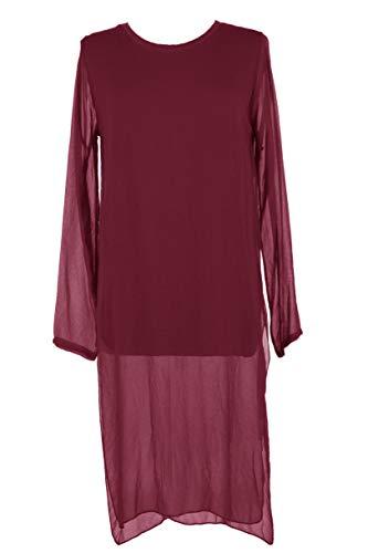 TEXTURE Ladies Womens Italian Lagenlook Long Sleeve Side Slit Crepe Chiffon Flowy Viscose Tunic Dress One Size (Burgundy, One Size) - Scoop Neck Knit Kleid