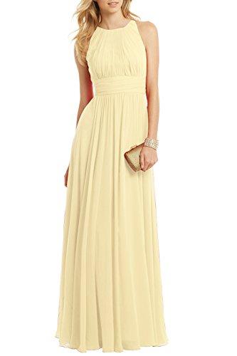 Ssyiz Femme Robe de Soiree Longue Elégante Moussline Plissée Maxi Robe Demoiselle D'honneur Mariage (36, jaune clair)