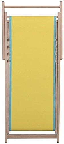 Chaise longue transat chilienne uni jaune bord turquoise - Toiles du Soleil
