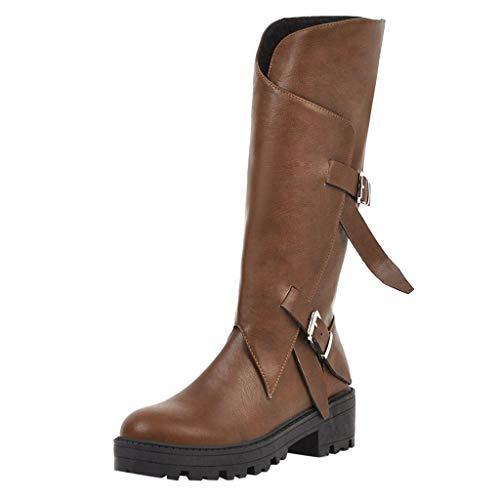Zolimx Mujer Invierno Zapatos ,Triple Buckle Forrada de Piel Impermeable Nieve Largo Mitad de La Pantorrilla Botas ,Calentar Forradas Botines Planos Cordones Calzado Al Aire Libre